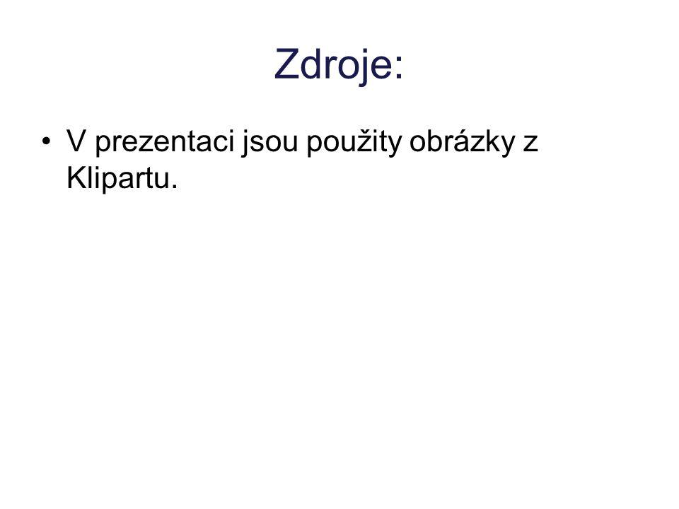 Zdroje: V prezentaci jsou použity obrázky z Klipartu.