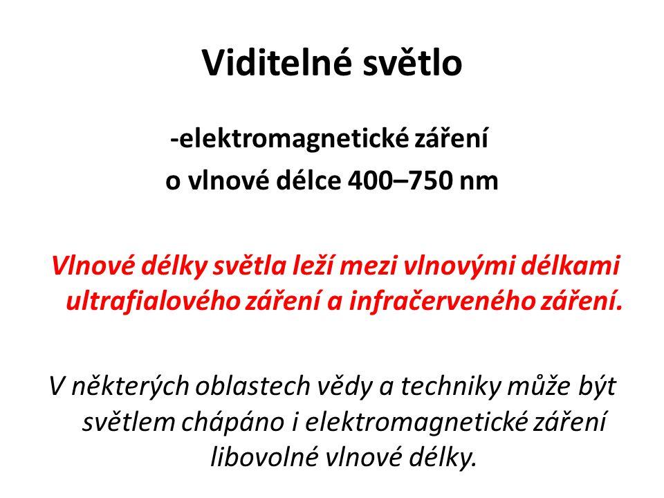 Viditelné světlo -elektromagnetické záření o vlnové délce 400–750 nm Vlnové délky světla leží mezi vlnovými délkami ultrafialového záření a infračerveného záření.