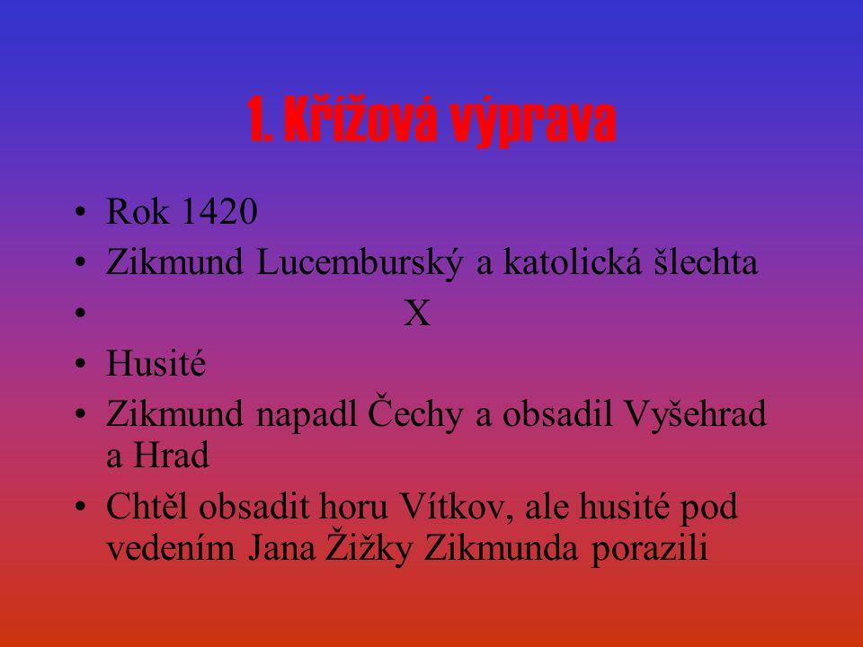 1. Křížová výprava Rok 1420 Zikmund Lucemburský a katolická šlechta X Husité Zikmund napadl Čechy a obsadil Vyšehrad a Hrad Chtěl obsadit horu Vítkov,