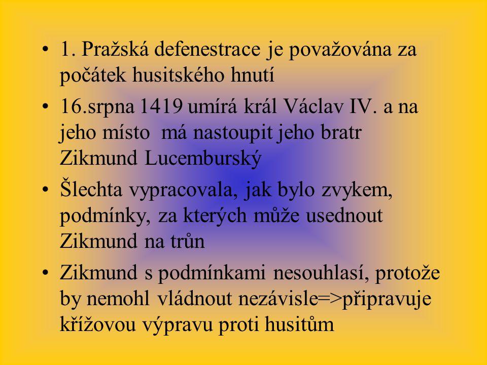 1. Pražská defenestrace je považována za počátek husitského hnutí 16.srpna 1419 umírá král Václav IV. a na jeho místo má nastoupit jeho bratr Zikmund