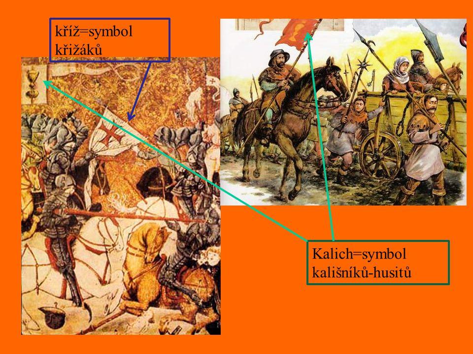 Kalich=symbol kališníků-husitů kříž=symbol křižáků