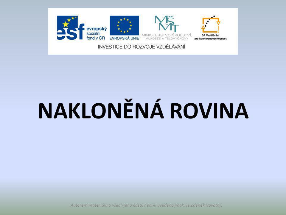Autorem materiálu a všech jeho částí, není-li uvedeno jinak, je Zdeněk Novotný. NAKLONĚNÁ ROVINA