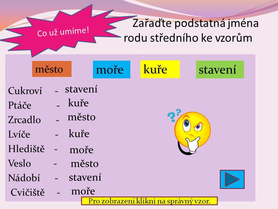 Zařaďte podstatná jména rodu středního ke vzorům Cukroví - Ptáče - Zrcadlo - Lvíče - Hlediště - Veslo - Nádobí - Cvičiště - Co už umíme.