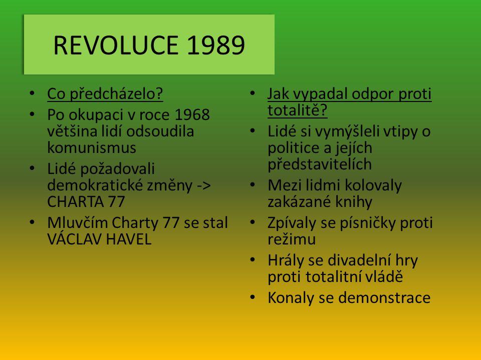 REVOLUCE 1989 Co předcházelo.