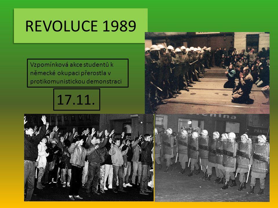 REVOLUCE 1989 Vzpomínková akce studentů k německé okupaci přerostla v protikomunistickou demonstraci 17.11.