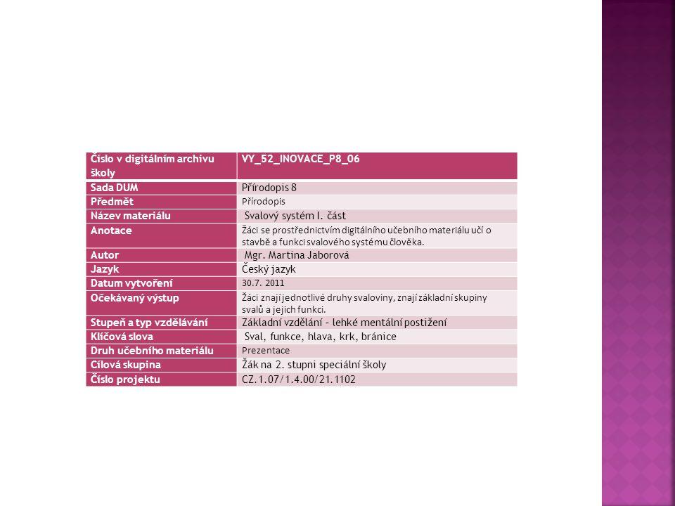 Číslo v digitálním archivu školy VY_52_INOVACE_P8_06 Sada DUMPřírodopis 8 Předmět Přírodopis Název materiálu Svalový systém I. část Anotace Žáci se pr