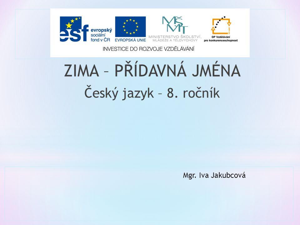 ZIMA – PŘÍDAVNÁ JMÉNA Český jazyk – 8. ročník Mgr. Iva Jakubcová