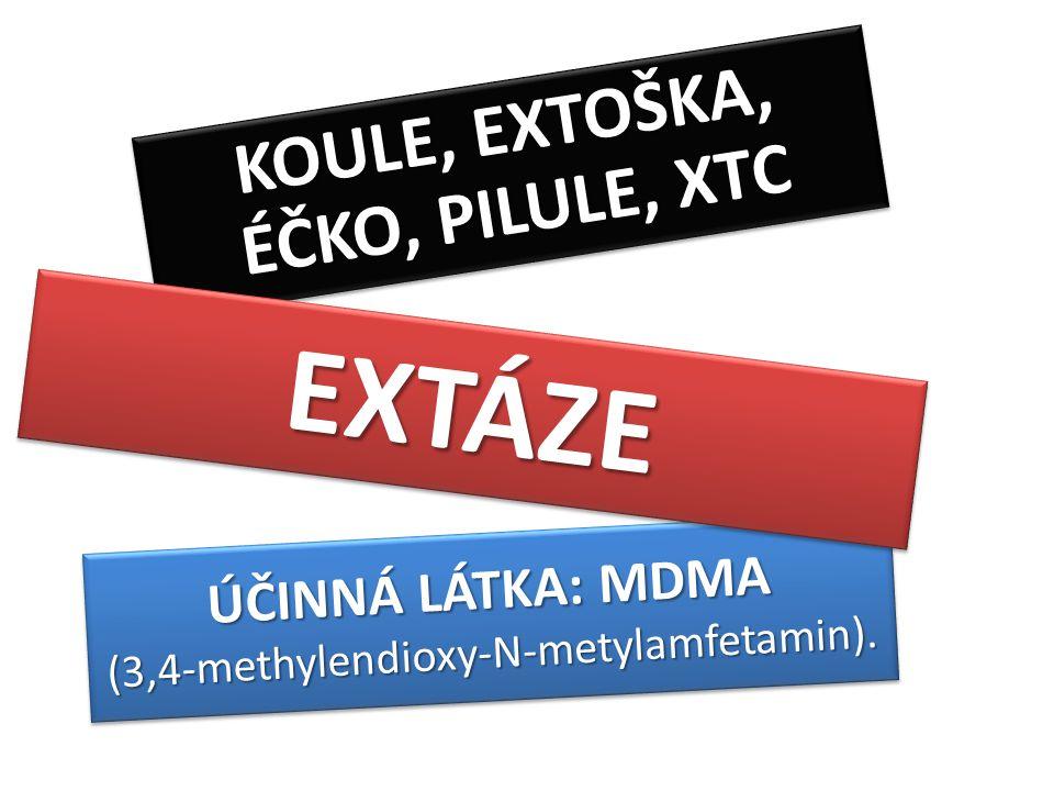 ÚČINNÁ LÁTKA: MDMA (3,4-methylendioxy-N-metylamfetamin). (3,4-methylendioxy-N-metylamfetamin). KOULE, EXTOŠKA, ÉČKO, PILULE, XTC EXTÁZEEXTÁZE