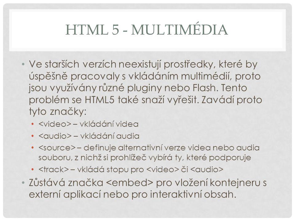 HTML 5 - MULTIMÉDIA Ve starších verzích neexistují prostředky, které by úspěšně pracovaly s vkládáním multimédií, proto jsou využívány různé pluginy n
