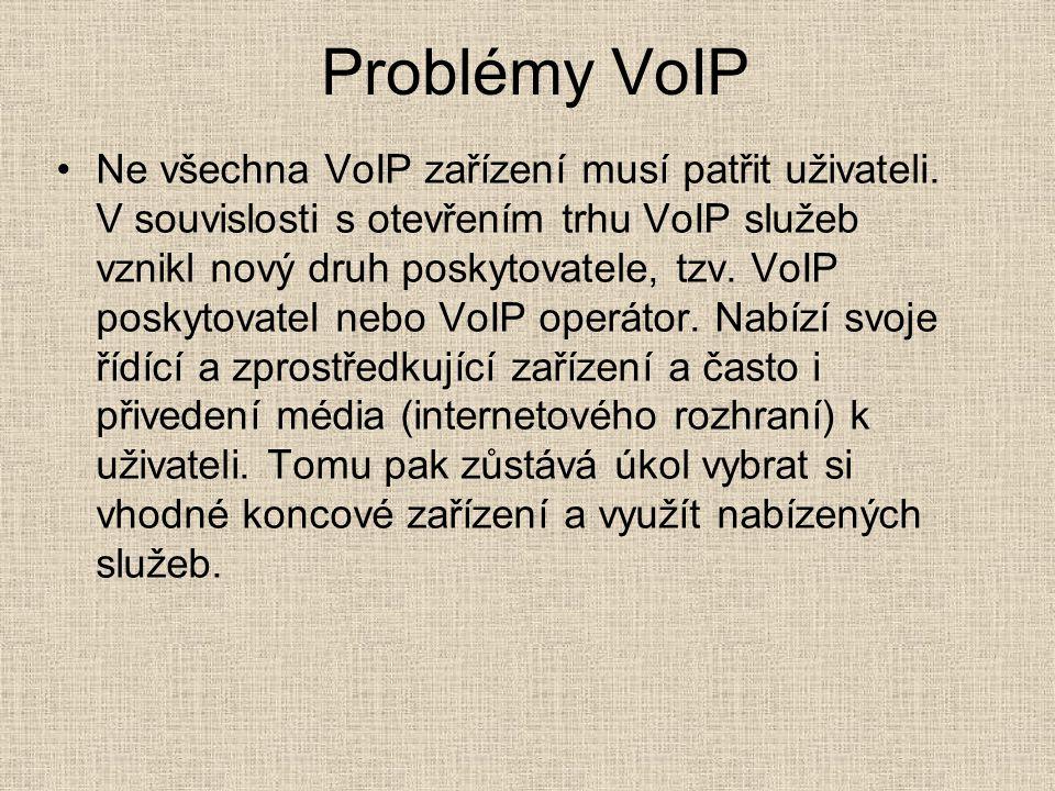 Problémy VoIP Ne všechna VoIP zařízení musí patřit uživateli. V souvislosti s otevřením trhu VoIP služeb vznikl nový druh poskytovatele, tzv. VoIP pos