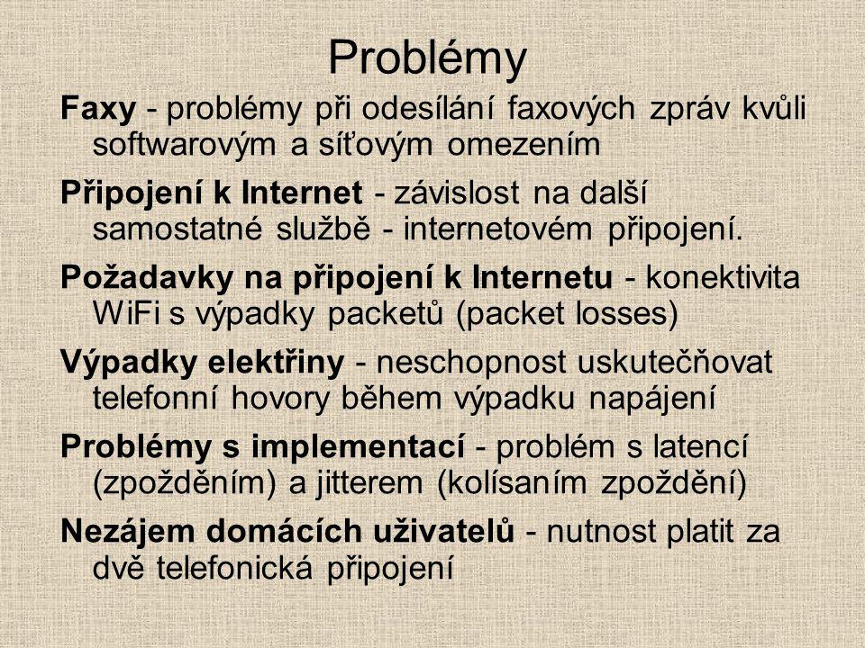 Problémy Faxy - problémy při odesílání faxových zpráv kvůli softwarovým a síťovým omezením Připojení k Internet - závislost na další samostatné službě