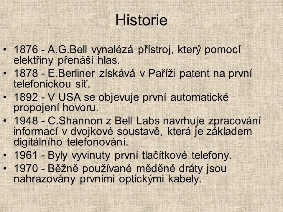 Historie 1876 - A.G.Bell vynalézá přístroj, který pomocí elektřiny přenáší hlas. 1878 - E.Berliner získává v Paříži patent na první telefonickou síť.
