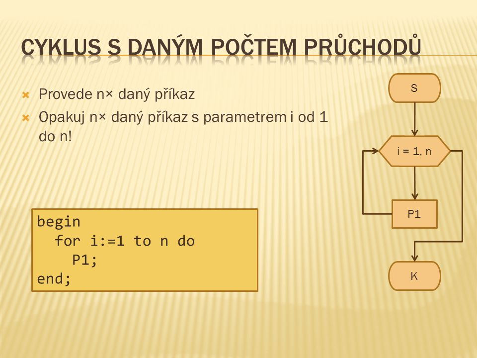 S K i = 1, n P1  Provede n× daný příkaz  Opakuj n× daný příkaz s parametrem i od 1 do n! begin for i:=1 to n do P1; end;