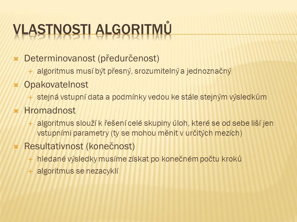  Determinovanost (předurčenost)  algoritmus musí být přesný, srozumitelný a jednoznačný  Opakovatelnost  stejná vstupní data a podmínky vedou ke s