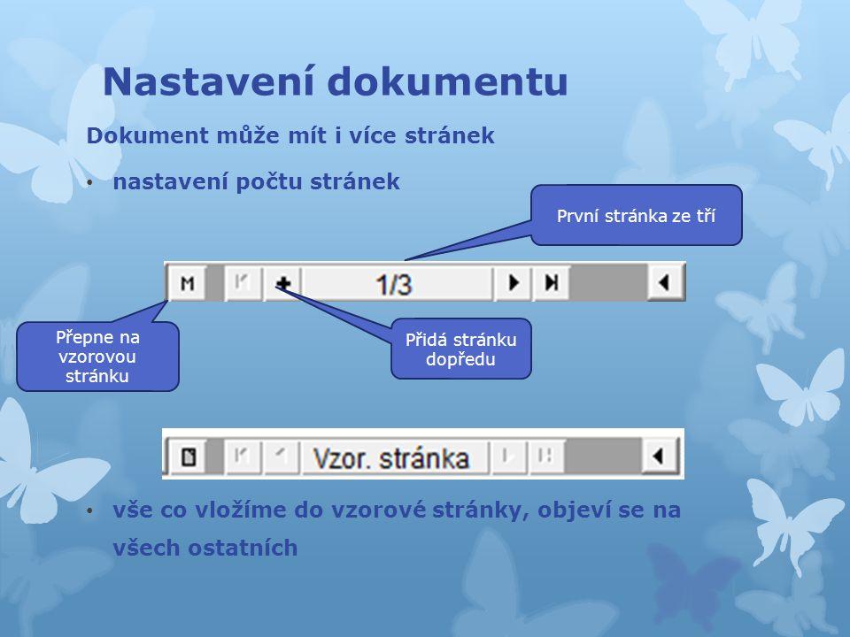 Dokument může mít i více stránek nastavení počtu stránek vše co vložíme do vzorové stránky, objeví se na všech ostatních Nastavení dokumentu Přepne na