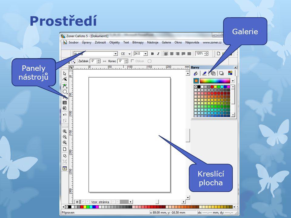 Panely nástrojů základní nástroje výběr a editace objektů tvarování objektů křivky tvary text tabulky vkládání obrázků zpět opakovat