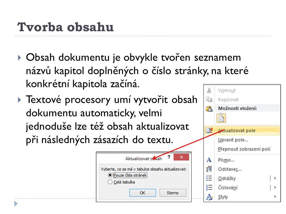 Tvorba obsahu  Obsah dokumentu je obvykle tvořen seznamem názvů kapitol doplněných o číslo stránky, na které konkrétní kapitola začíná.  Textové pro