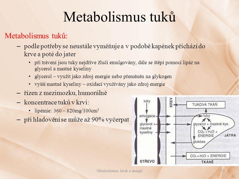 Metabolismus tuků Metabolismus tuků: – podle potřeby se neustále vyměňuje a v podobě kapének přichází do krve a poté do jater při trávení jsou tuky ne