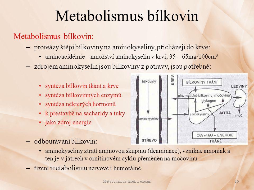 Metabolismus bílkovin Metabolismus bílkovin: – proteázy štěpí bílkoviny na aminokyseliny, přicházejí do krve: aminoacidémie – množství aminokyselin v
