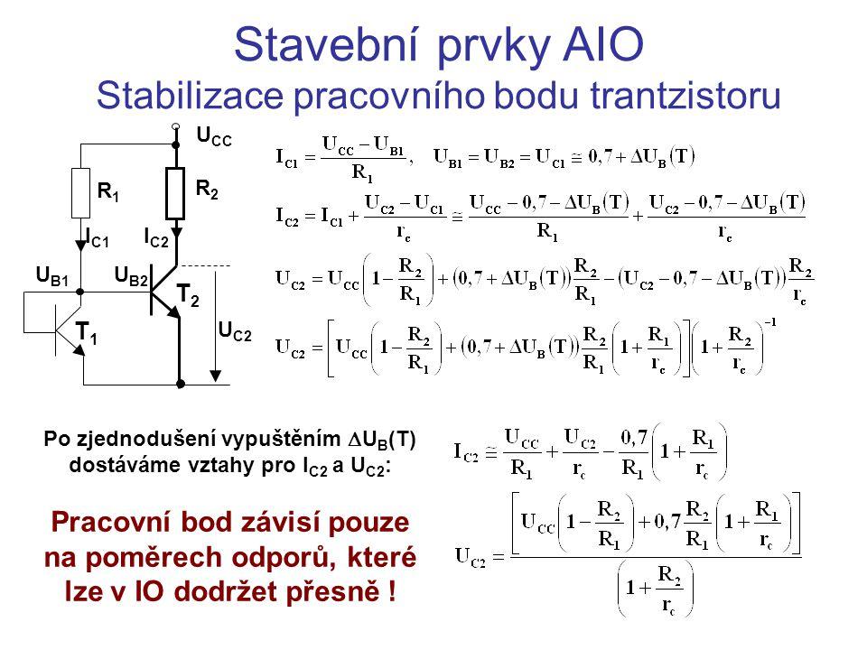 Stavební prvky AIO Stabilizace pracovního bodu trantzistoru Po zjednodušení vypuštěním  U B (T) dostáváme vztahy pro I C2 a U C2 : Pracovní bod závis