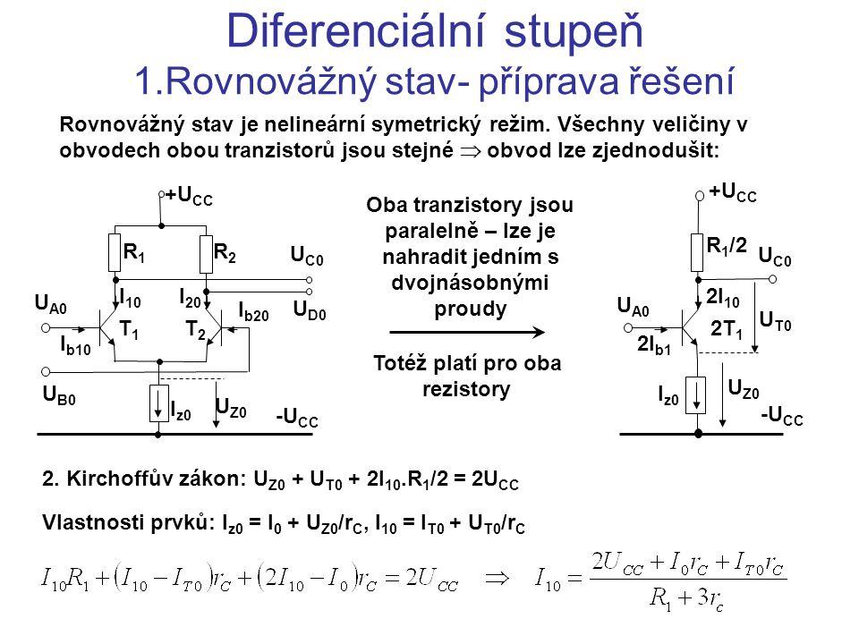 Diferenciální stupeň 1.Rovnovážný stav- příprava řešení U A0 U B0 U C0 U D0 +U CC -U CC R1R1 R2R2 T1T1 T2T2 I z0 U Z0 I 10 I 20 I b10 I b20 Rovnovážný