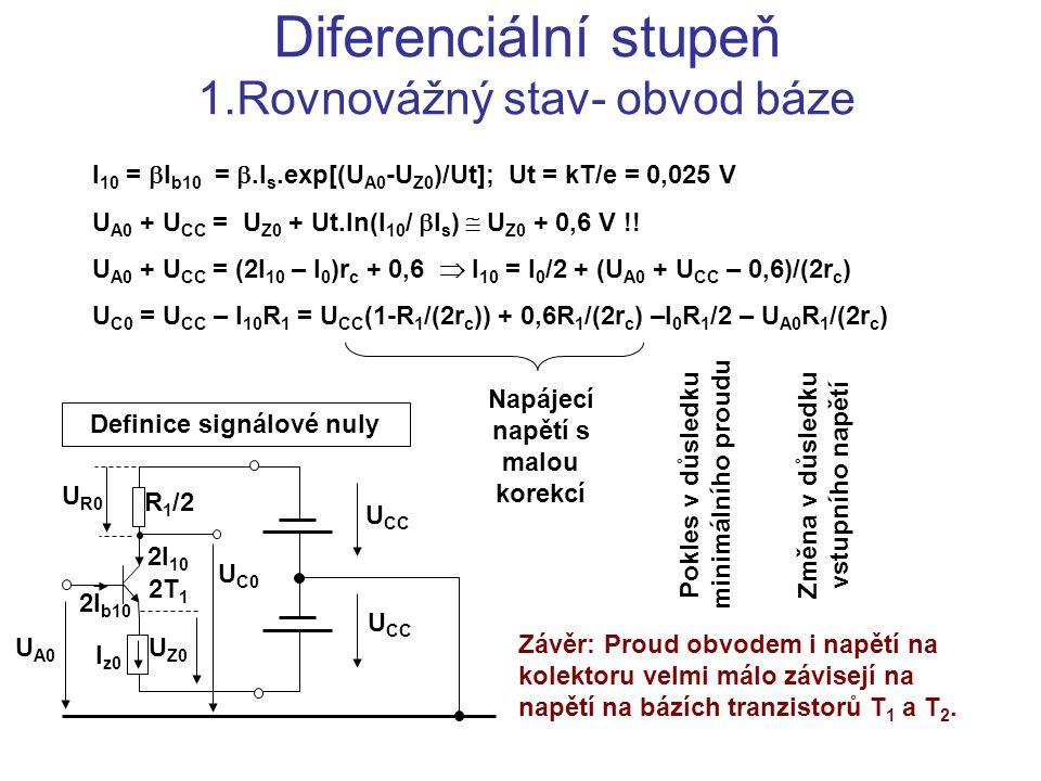Diferenciální stupeň 1.Rovnovážný stav- obvod báze I 10 =  I b10 = .I s.exp[(U A0 -U Z0 )/Ut]; Ut = kT/e = 0,025 V U A0 + U CC  = U Z0 + Ut.ln(I 10