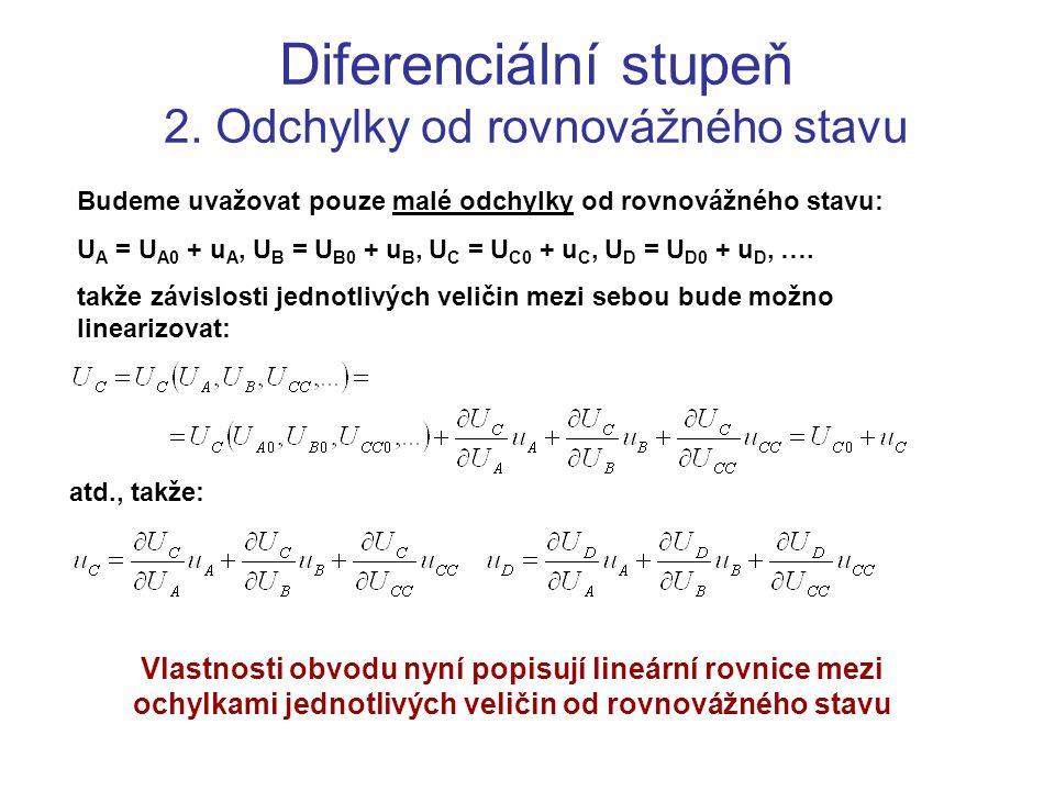Diferenciální stupeň 2. Odchylky od rovnovážného stavu Budeme uvažovat pouze malé odchylky od rovnovážného stavu: U A = U A0 + u A, U B = U B0 + u B,