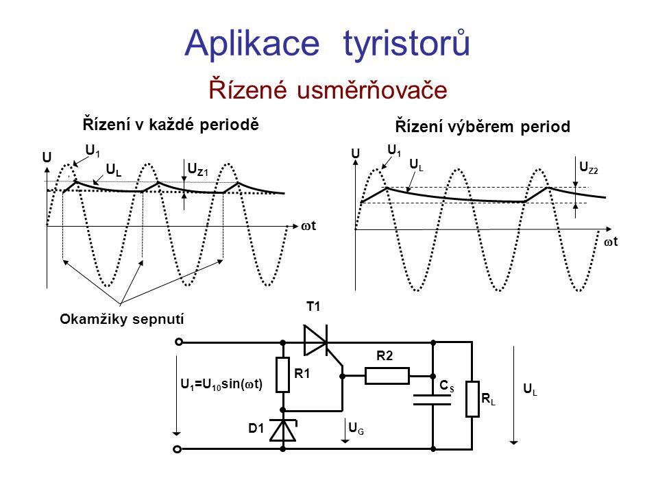 Aplikace tyristorů Řízené usměrňovače ULUL RLRL D1 R1 R2 UGUG U 1 =U 10 sin(  t) T1 CSCS Řízení výběrem period U1U1 ULUL U Z2 tt U U Z1 U tt Říze