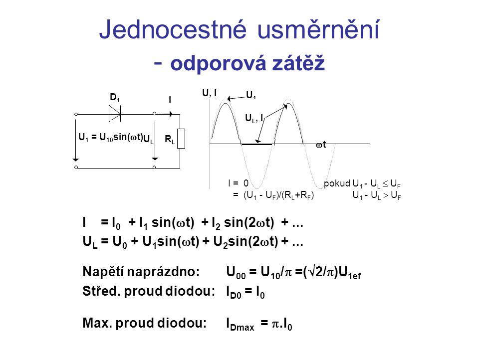 Jednocestné usměrnění - odporová zátěž I = I 0 + I 1 sin(  t) + I 2 sin(2  t) +...