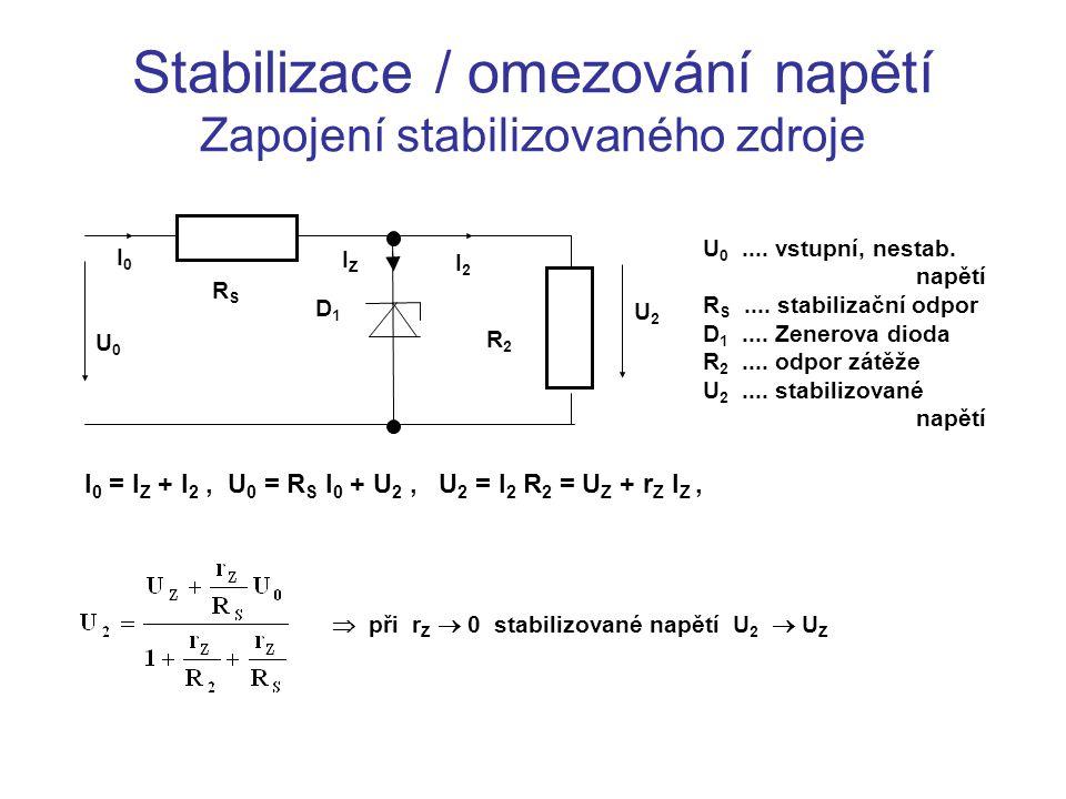 Stabilizace / omezování napětí Zapojení stabilizovaného zdroje U0U0 I0I0 RSRS D1D1 IZIZ R2R2 U2U2 I2I2 U 0....