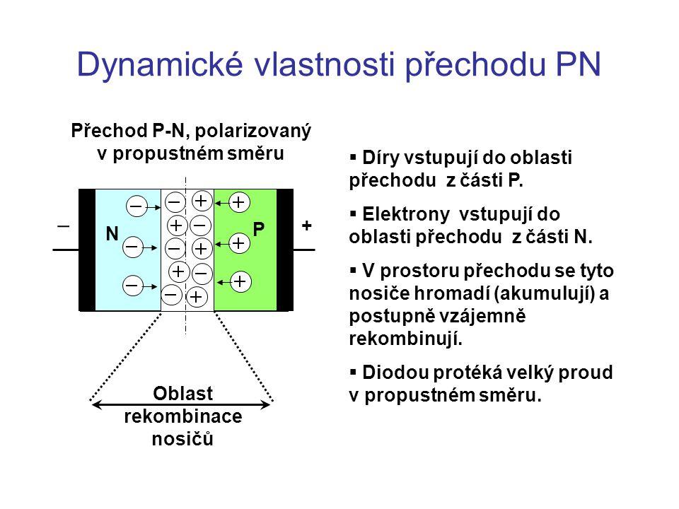 Dynamické vlastnosti přechodu PN Přechod P-N, polarizovaný v propustném směru N P +   Díry vstupují do oblasti přechodu z části P.