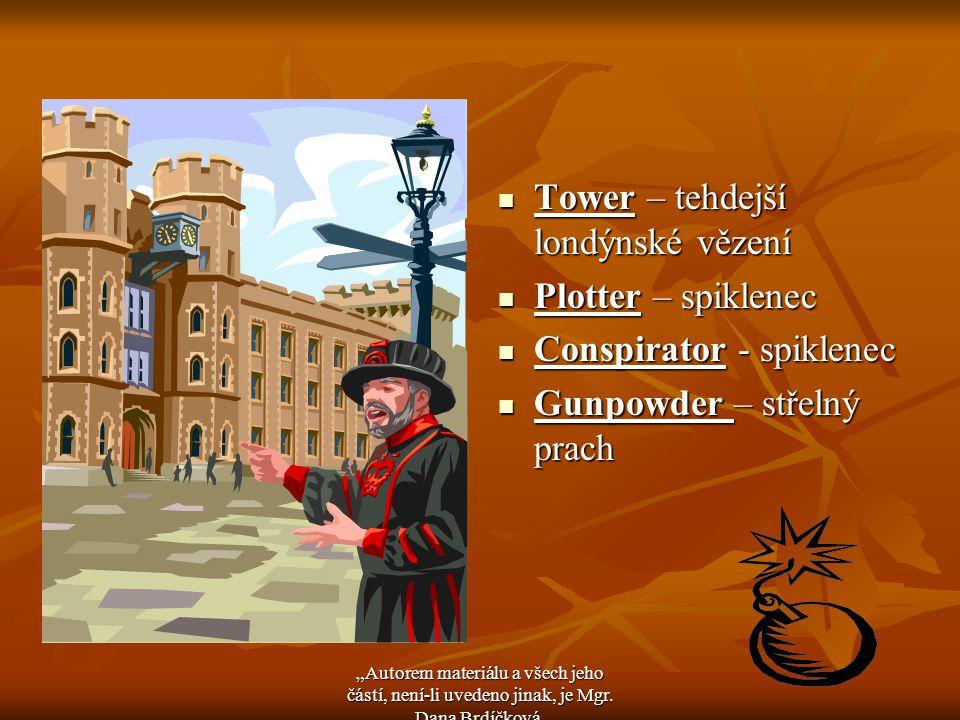 Tower – tehdejší londýnské vězení Tower – tehdejší londýnské vězení Plotter – spiklenec Plotter – spiklenec Conspirator - spiklenec Conspirator - spik