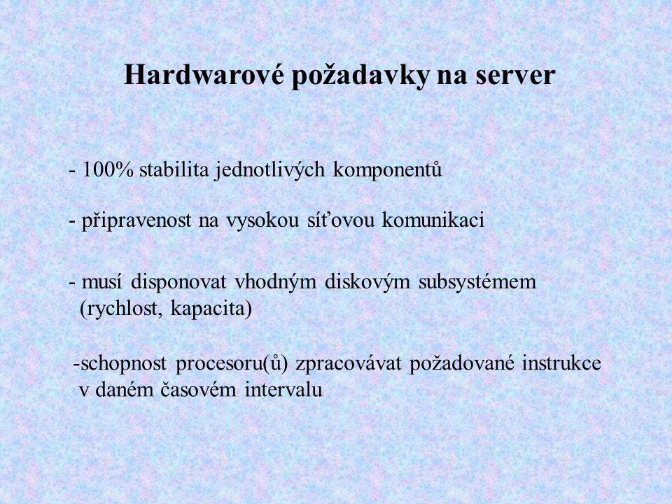 Hardwarové požadavky na server - 100% stabilita jednotlivých komponentů - připravenost na vysokou síťovou komunikaci - musí disponovat vhodným diskovým subsystémem (rychlost, kapacita) -schopnost procesoru(ů) zpracovávat požadované instrukce v daném časovém intervalu