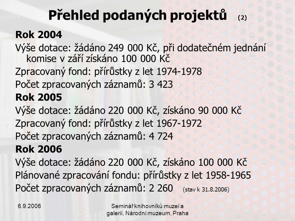 6.9.2006Seminář knihovníků muzeí a galerií, Národní muzeum, Praha Přehled podaných projektů (2) Rok 2004 Výše dotace: žádáno 249 000 Kč, při dodatečném jednání komise v září získáno 100 000 Kč Zpracovaný fond: přírůstky z let 1974-1978 Počet zpracovaných záznamů: 3 423 Rok 2005 Výše dotace: žádáno 220 000 Kč, získáno 90 000 Kč Zpracovaný fond: přírůstky z let 1967-1972 Počet zpracovaných záznamů: 4 724 Rok 2006 Výše dotace: žádáno 220 000 Kč, získáno 100 000 Kč Plánované zpracování fondu: přírůstky z let 1958-1965 Počet zpracovaných záznamů: 2 260 (stav k 31.8.2006)