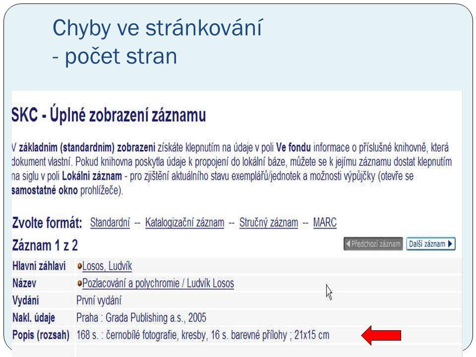 Chyby ve stránkování - počet stran
