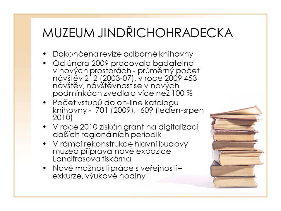 MUZEUM JINDŘICHOHRADECKA Dokončena revize odborné knihovny Od února 2009 pracovala badatelna v nových prostorách - průměrný počet návštěv 212 (2003-07