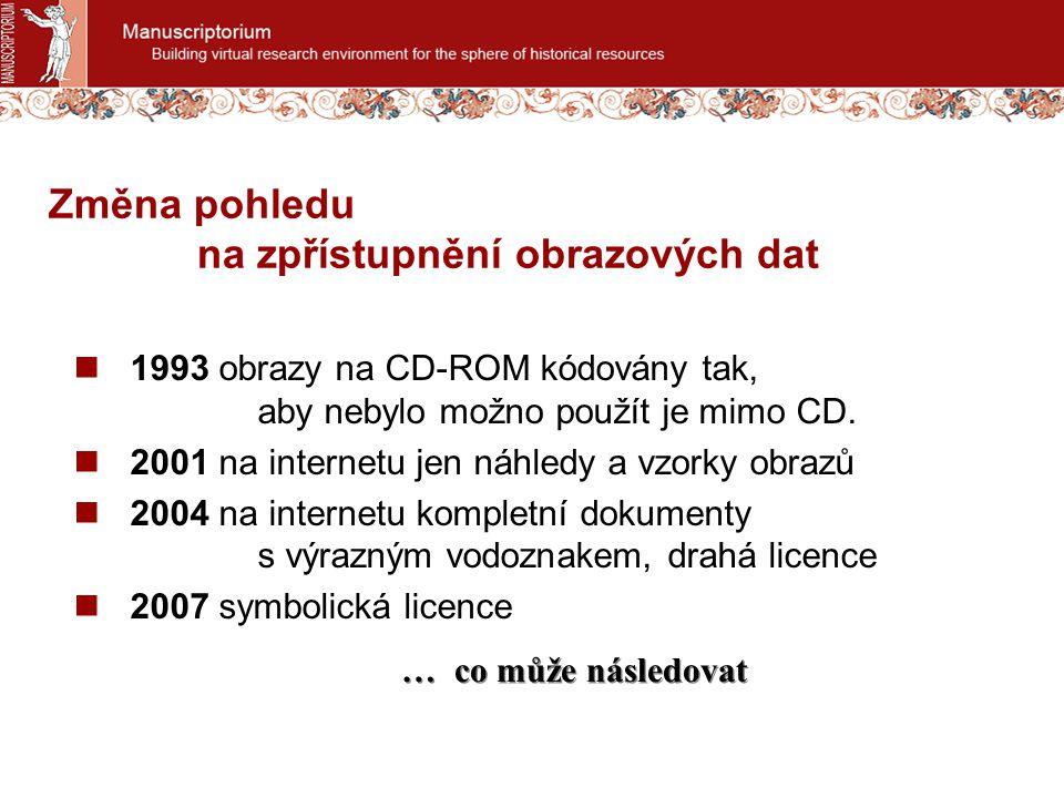 Změna pohledu na zpřístupnění obrazových dat 1993 obrazy na CD-ROM kódovány tak, aby nebylo možno použít je mimo CD.