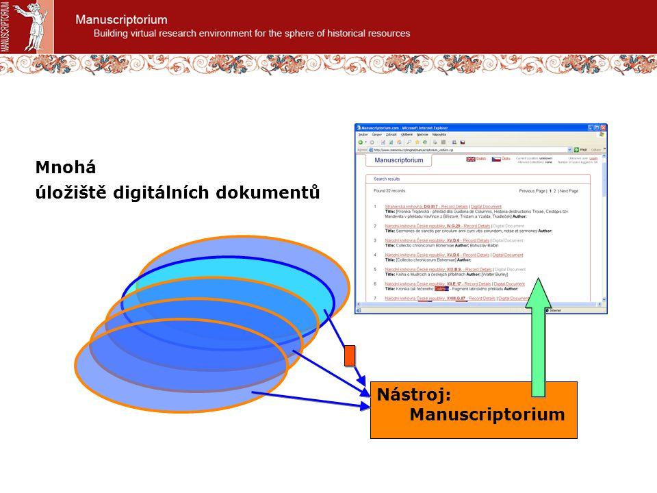 úložiště digitálních dokumentů Nástroj: Manuscriptorium Mnohá
