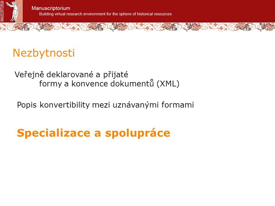 Veřejně deklarované a přijaté formy a konvence dokumentů (XML) Nezbytnosti Popis konvertibility mezi uznávanými formami Specializace a spolupráce