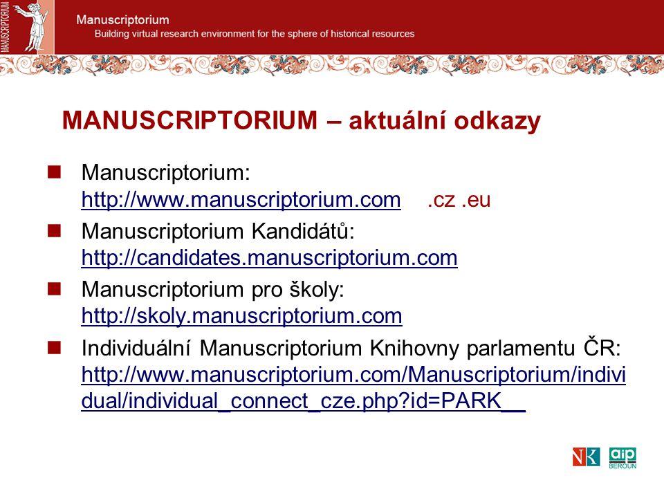 Manuscriptorium: http://www.manuscriptorium.com.cz.eu http://www.manuscriptorium.com Manuscriptorium Kandidátů: http://candidates.manuscriptorium.com http://candidates.manuscriptorium.com Manuscriptorium pro školy: http://skoly.manuscriptorium.com http://skoly.manuscriptorium.com Individuální Manuscriptorium Knihovny parlamentu ČR: http://www.manuscriptorium.com/Manuscriptorium/indivi dual/individual_connect_cze.php id=PARK__ http://www.manuscriptorium.com/Manuscriptorium/indivi dual/individual_connect_cze.php id=PARK__ MANUSCRIPTORIUM – aktuální odkazy