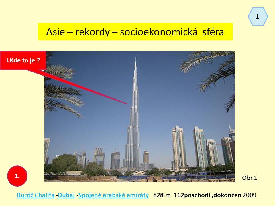 Asie – rekordy – socioekonomická sféra Burdž ChalífaBurdž Chalífa -Dubaj -Spojené arabské emiráty 828 m 162poschodí,dokončen 2009DubajSpojené arabské emiráty I.Kde to je .