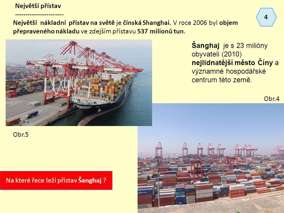 Největší přístav ----------------------- Největší nákladní přístav na světě je čínská Shanghai.