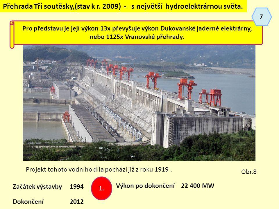 Přehrada Tři soutěsky,(stav k r.2009) - s největší hydroelektrárnou světa.