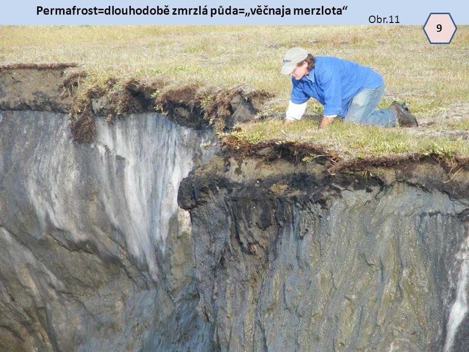 """Permafrost=dlouhodobě zmrzlá půda=""""věčnaja merzlota"""" 9 Obr.11"""