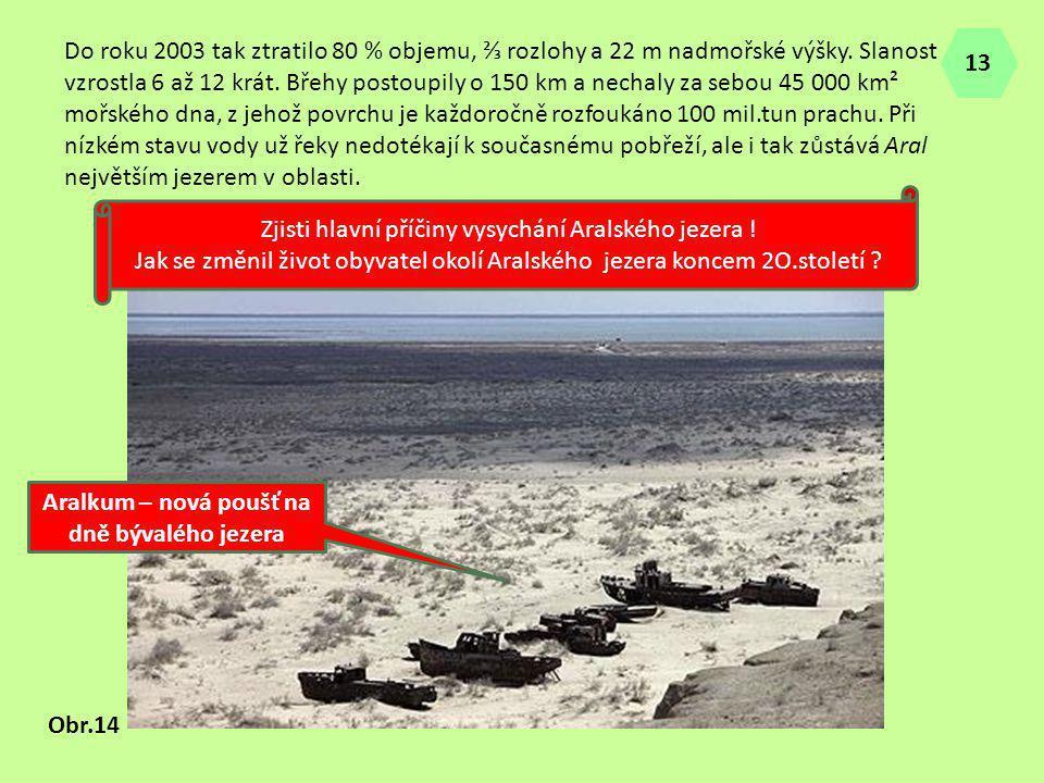 Do roku 2003 tak ztratilo 80 % objemu, ⅔ rozlohy a 22 m nadmořské výšky. Slanost vzrostla 6 až 12 krát. Břehy postoupily o 150 km a nechaly za sebou 4