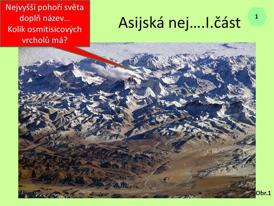 Asijská nej….I.část Nejvyšší pohoří světa doplň název… Kolik osmitisícových vrcholů má? Obr.1 1