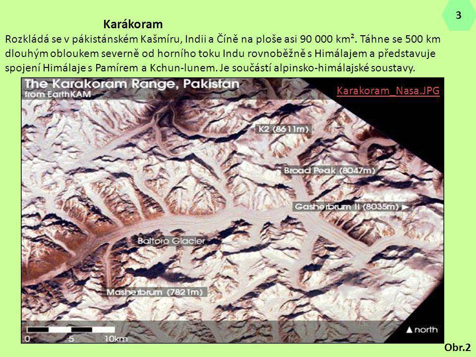 Karakoram_Nasa.JPG Karákoram Rozkládá se v pákistánském Kašmíru, Indii a Číně na ploše asi 90 000 km². Táhne se 500 km dlouhým obloukem severně od hor