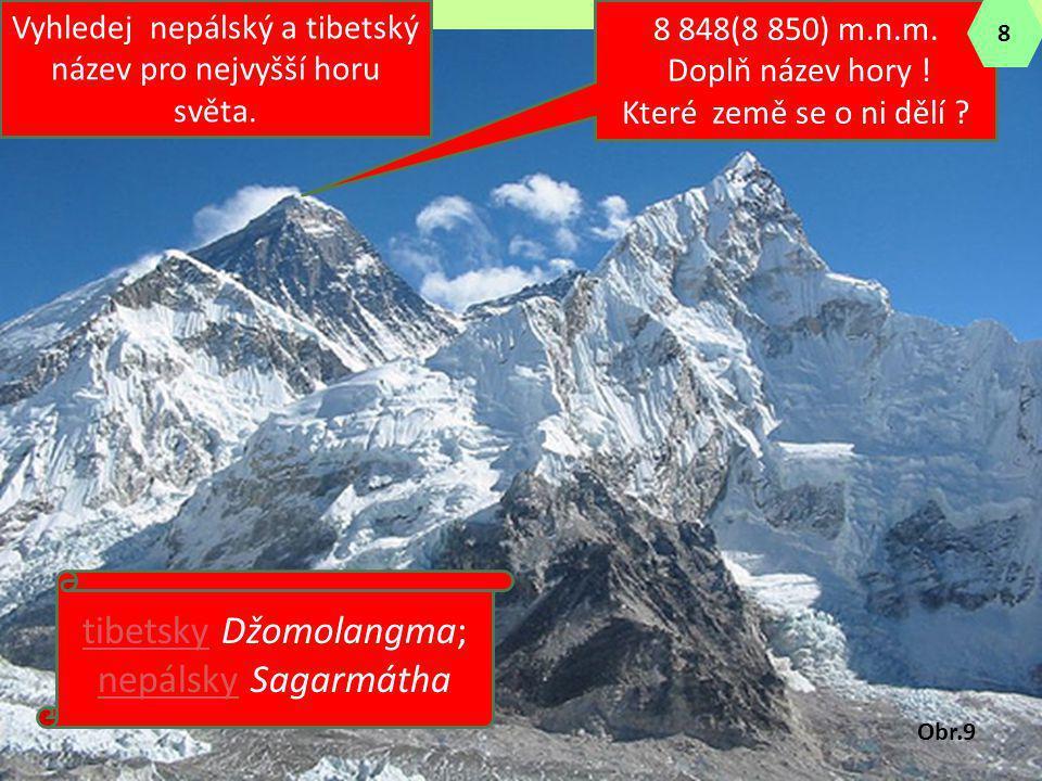 8 848(8 850) m.n.m. Doplň název hory ! Které země se o ni dělí ? Vyhledej nepálský a tibetský název pro nejvyšší horu světa. tibetskytibetsky Džomolan
