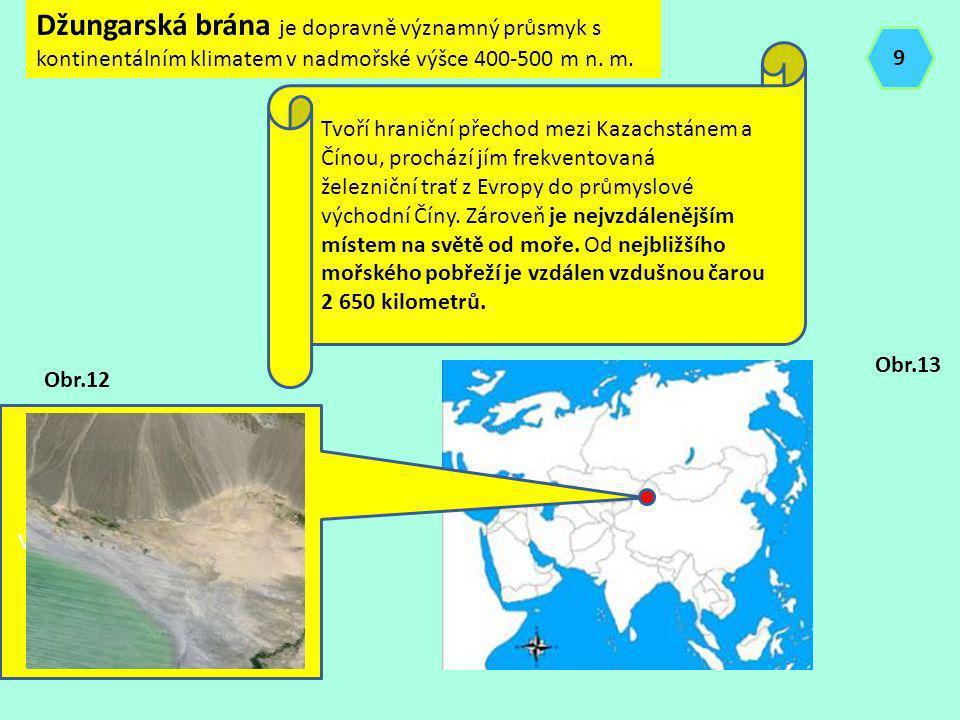 Džungarská brána je dopravně významný průsmyk s kontinentálním klimatem v nadmořské výšce 400-500 m n. m. Tvoří hraniční přechod mezi Kazachstánem a Č