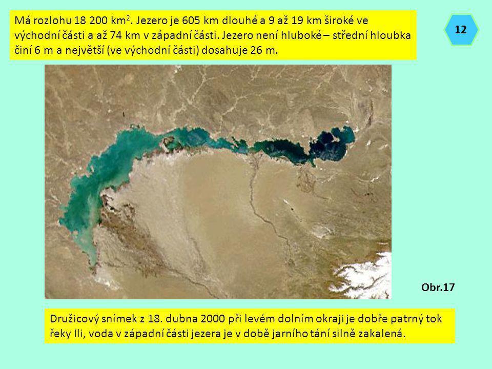 Má rozlohu 18 200 km 2. Jezero je 605 km dlouhé a 9 až 19 km široké ve východní části a až 74 km v západní části. Jezero není hluboké – střední hloubk